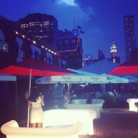 Illuminated couches at Beekman Beer Garden